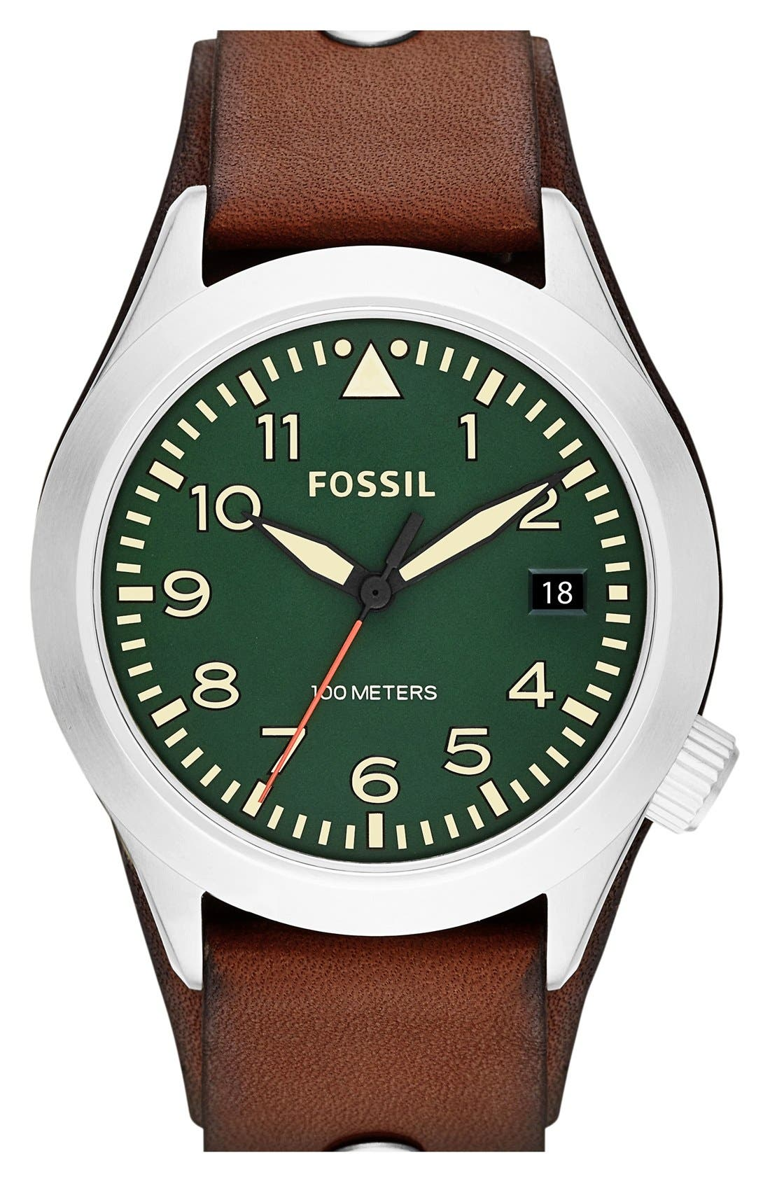 Main Image - Fossil 'Aeroflite' Leather Strap Watch, 44mm