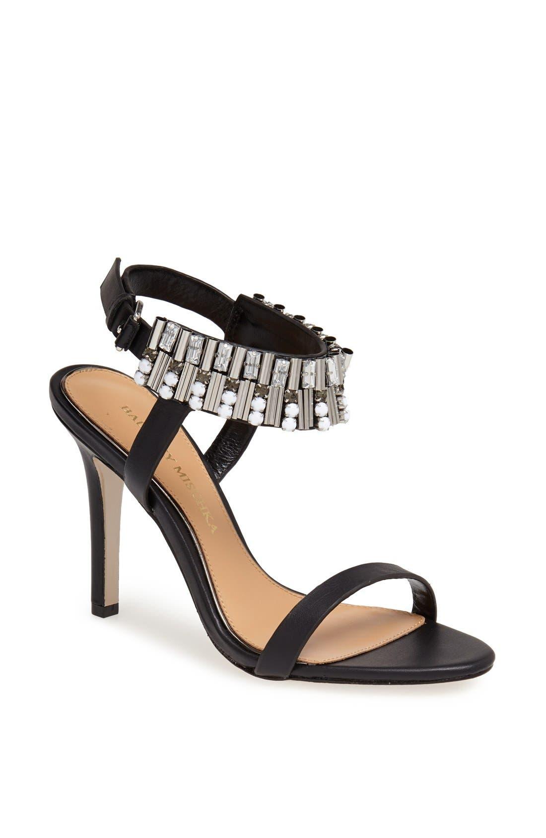 Alternate Image 1 Selected - Badgley Mischka 'Kallan' Crystal Cuff Leather Sandal