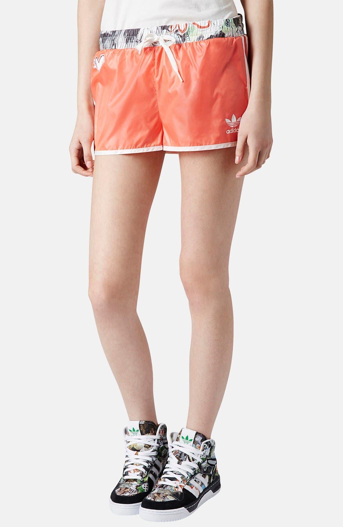 Alternate Image 1 Selected - Topshop x adidas Originals Orange Shorts
