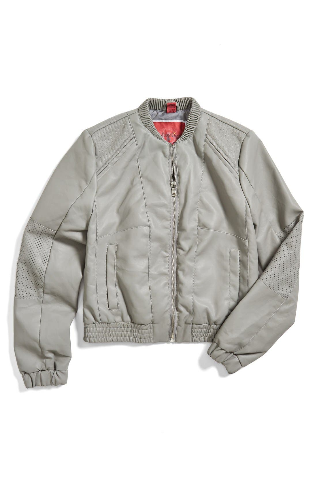 Alternate Image 1 Selected - Collection B Faux Leather Baseball Jacket (Big Girls)(Online Only)