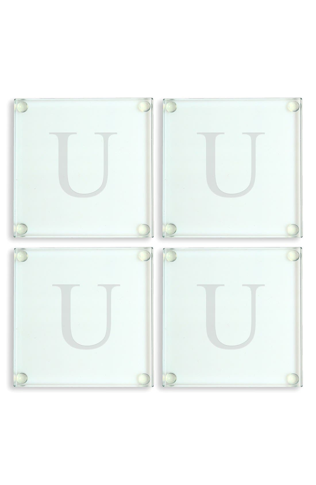 Alternate Image 1 Selected - Cathy's Concepts Monogram Glass Coasters (Set of 4)