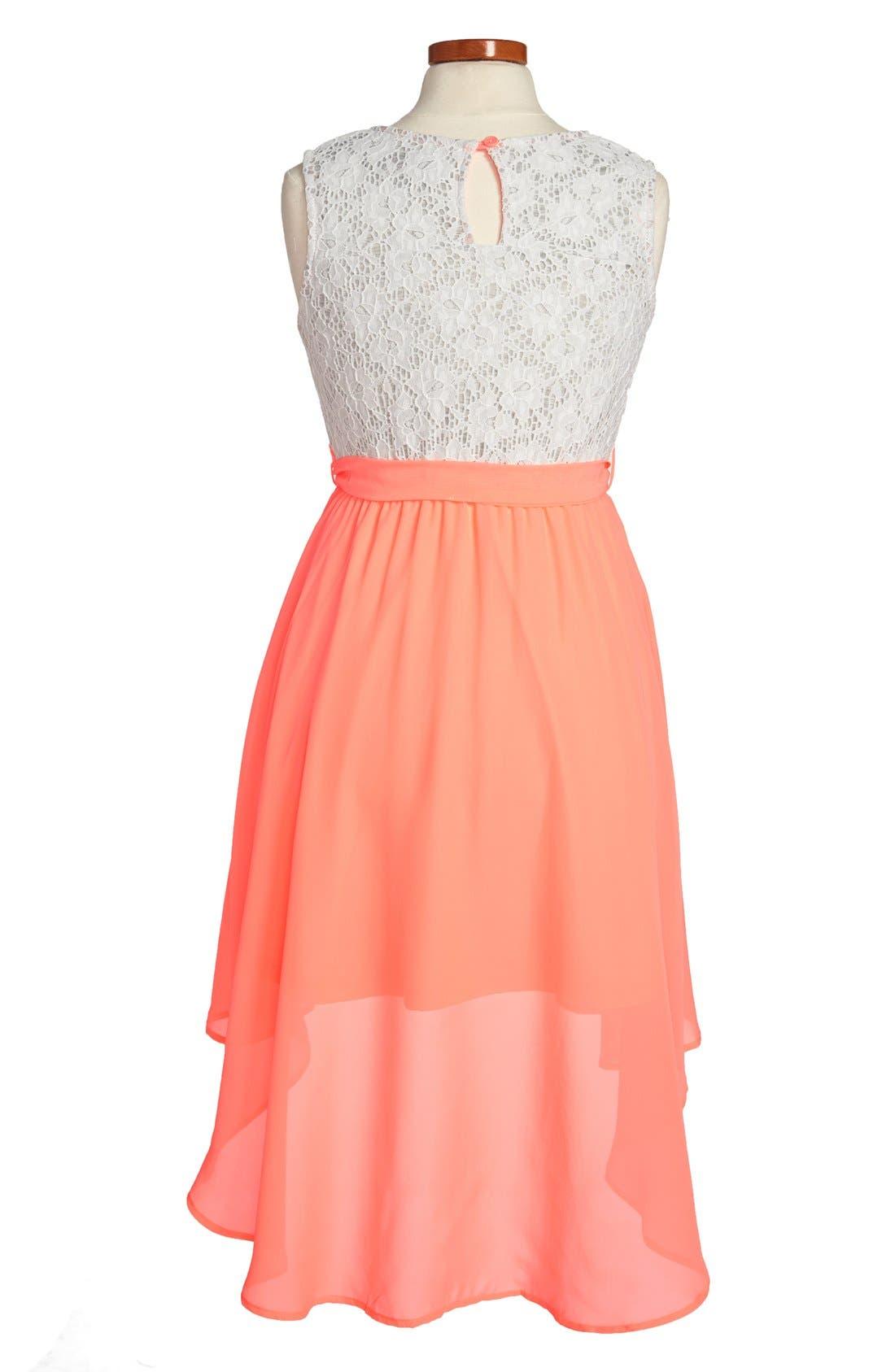 Alternate Image 2  - W Girl Lace Bodice High/Low Dress (Big Girls)