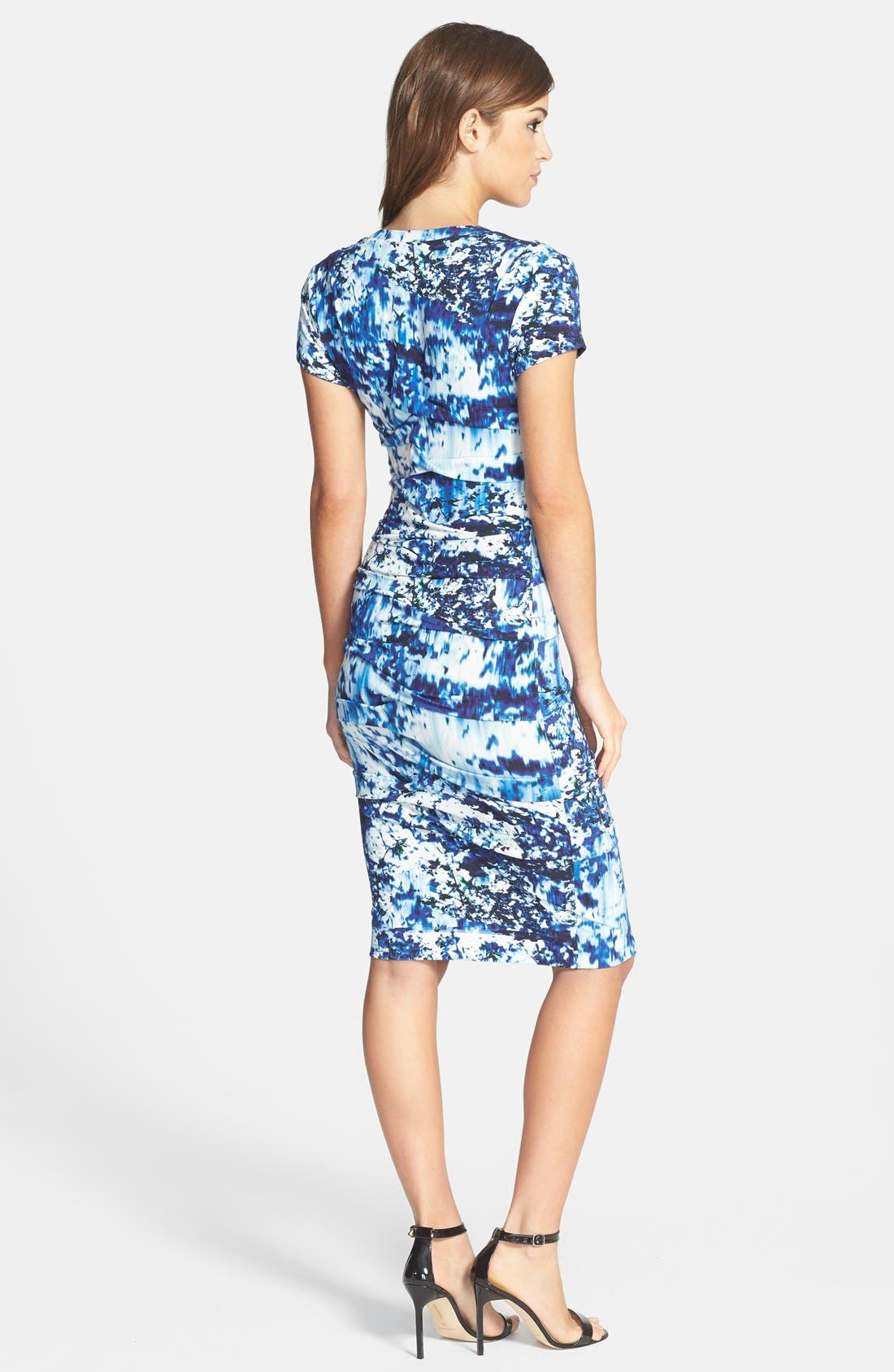 Alternate Image 2  - Nicole Miller 'Blue Lagoon' Print Tidal Pleat Jersey Dress