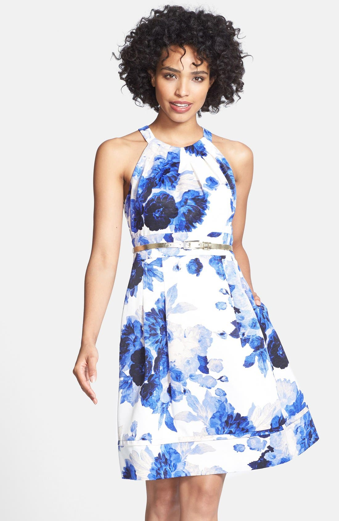 Main Image - Eliza J Print Cutaway Bodice Faille Fit & Flare Dress