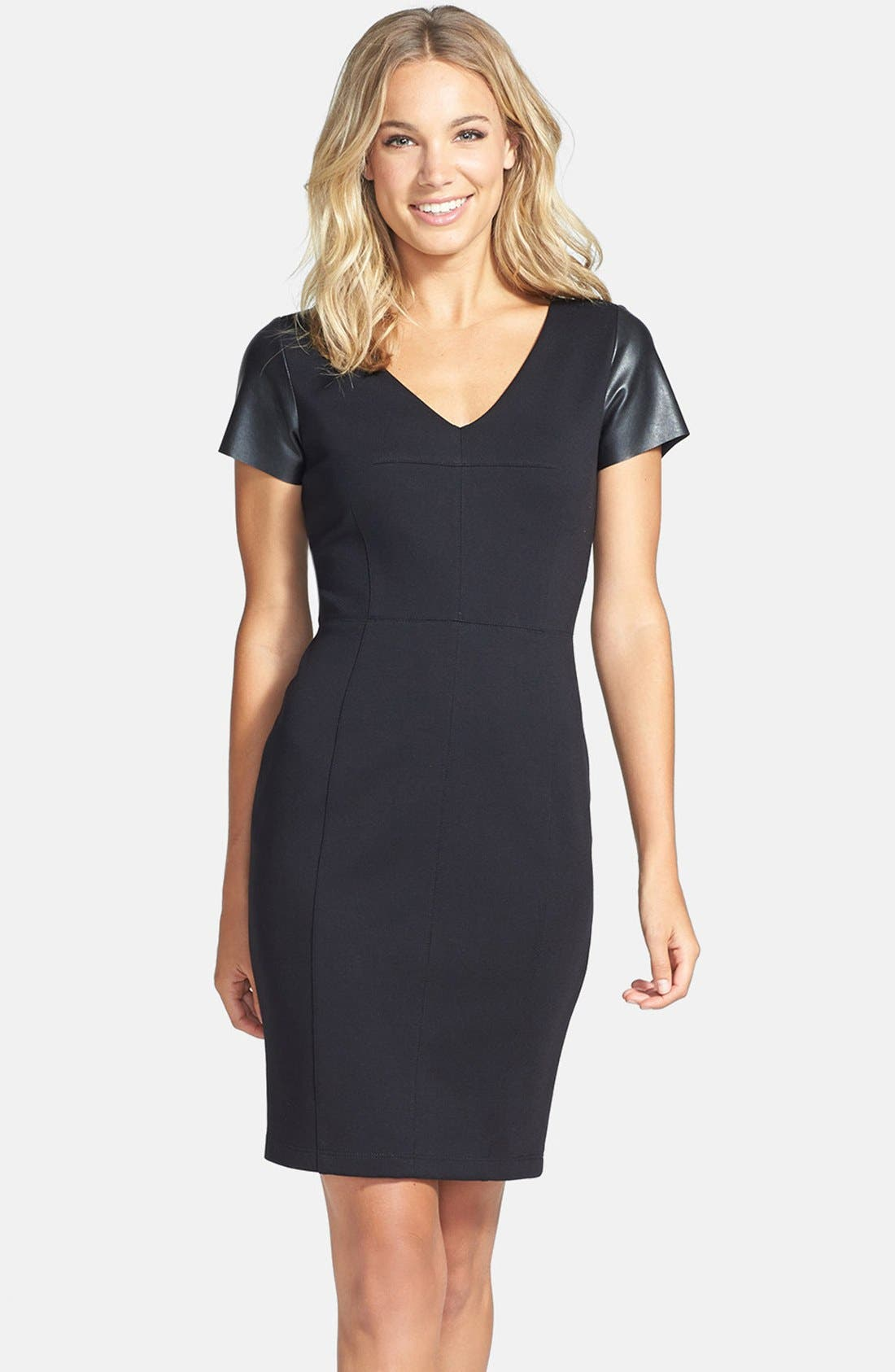 Alternate Image 1 Selected - B44 Dressed by Bailey 44 'Fashion Doll' Faux Leather Sleeves Sheath Dress