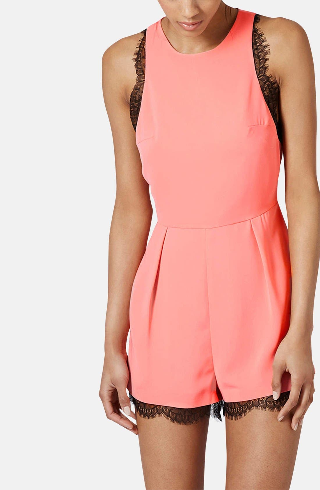 Alternate Image 1 Selected - Topshop Lace Trim Romper