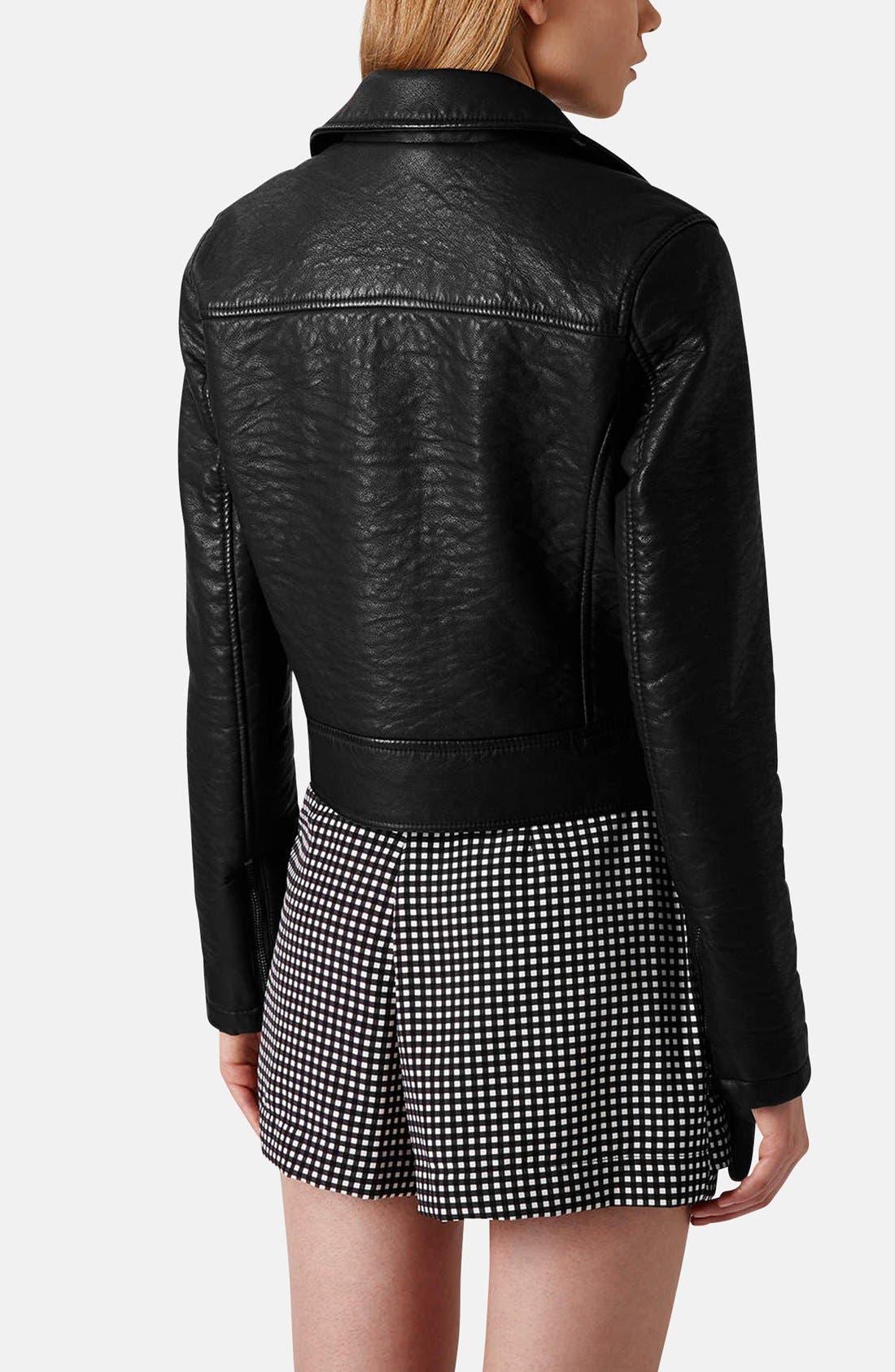 Alternate Image 2  - Topshop 'Scarlet' Faux Leather Biker Jacket