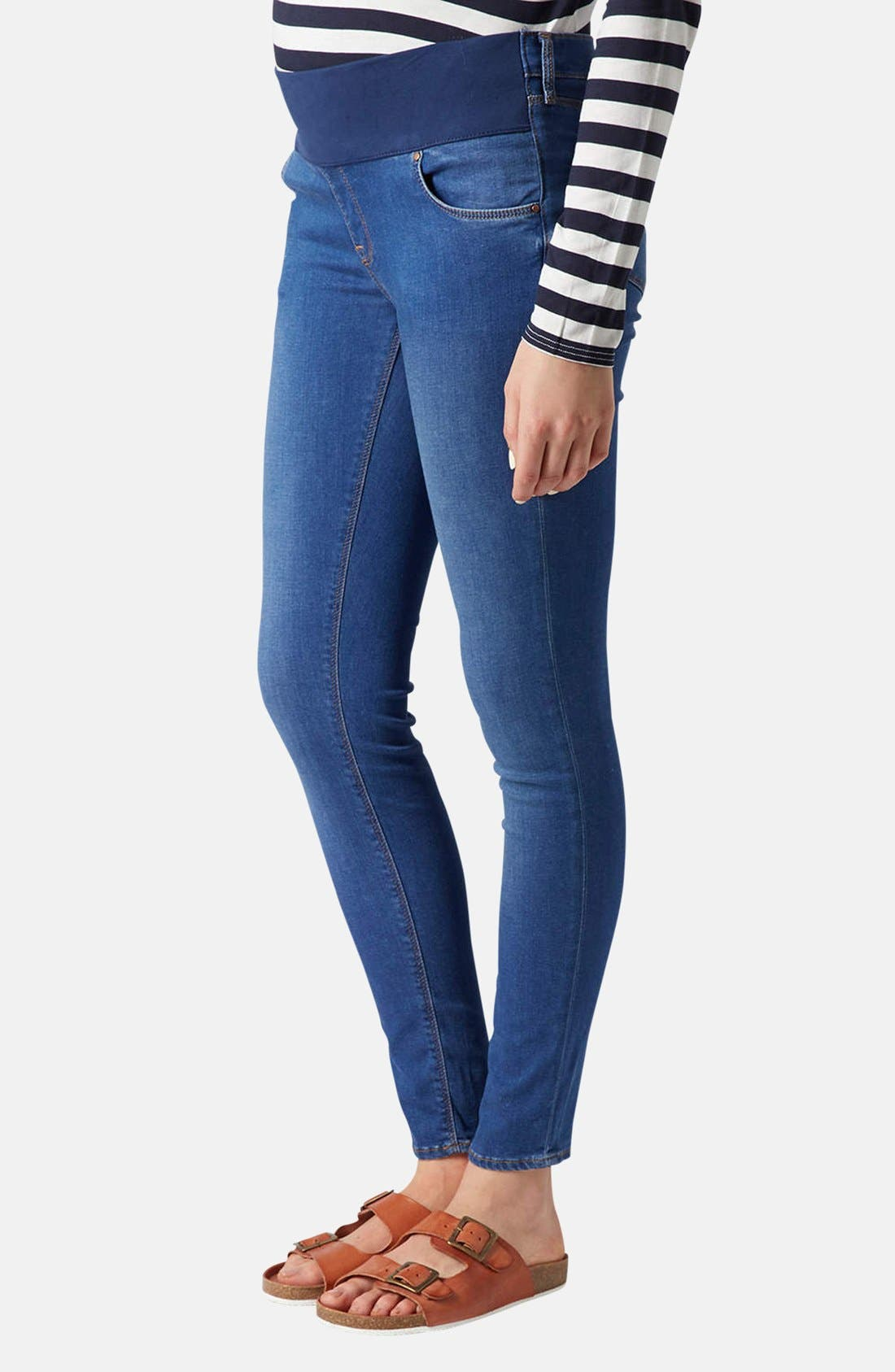 Main Image - Topshop 'Leigh' Maternity Skinny Jeans (Regular and Short)