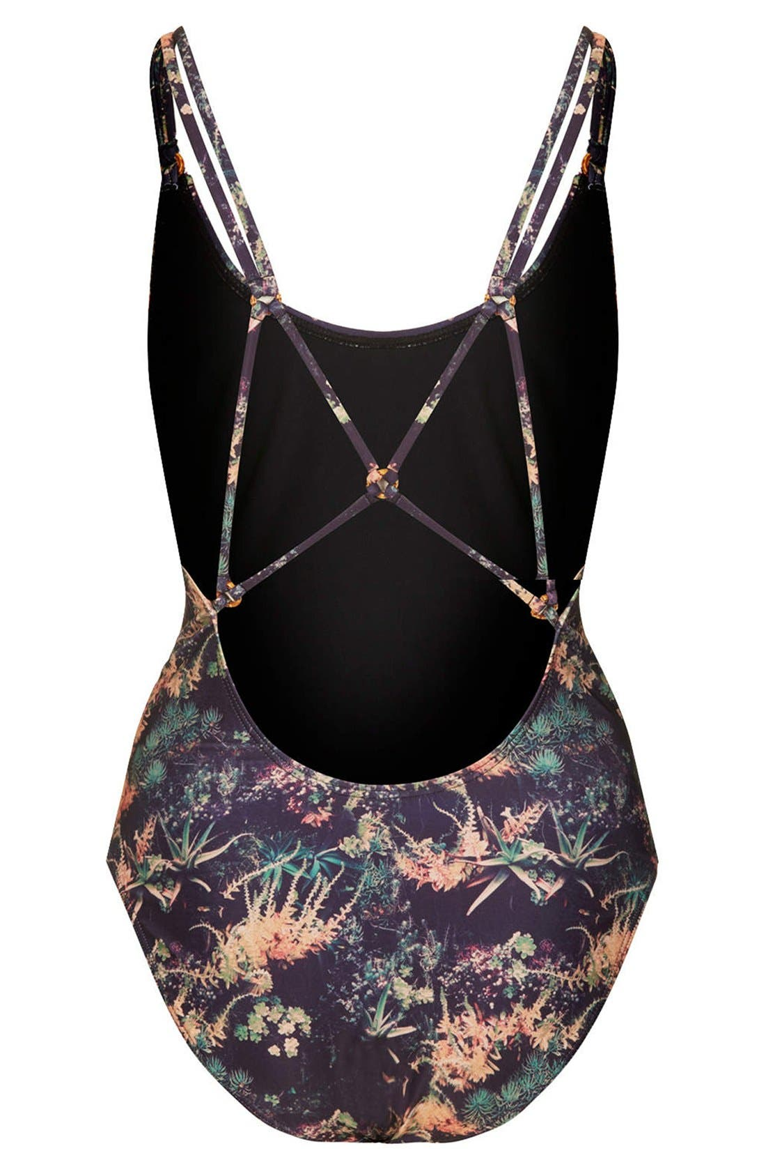 Alternate Image 2  - Topshop Botanic Print Strappy Back One-Piece Swimsuit