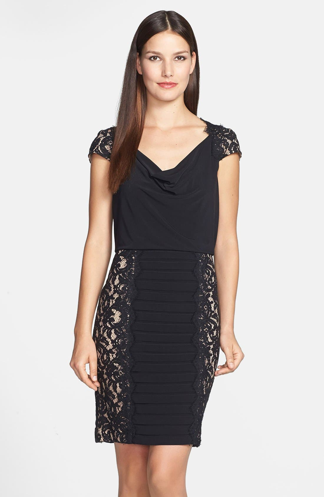 Main Image - Adrianna Papell Lace Panel Banded Blouson Jersey Dress