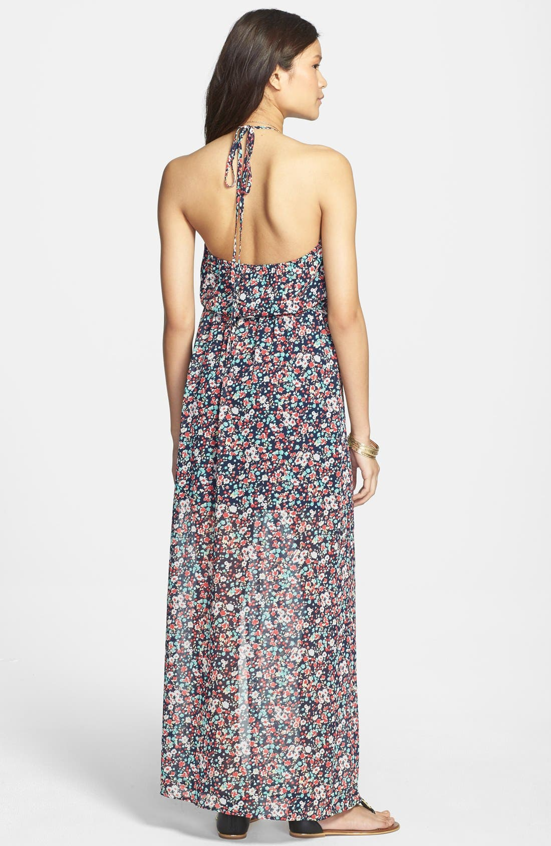 Alternate Image 2  - Mimi Chica Floral Print Chiffon Halter Maxi Dress (Juniors)