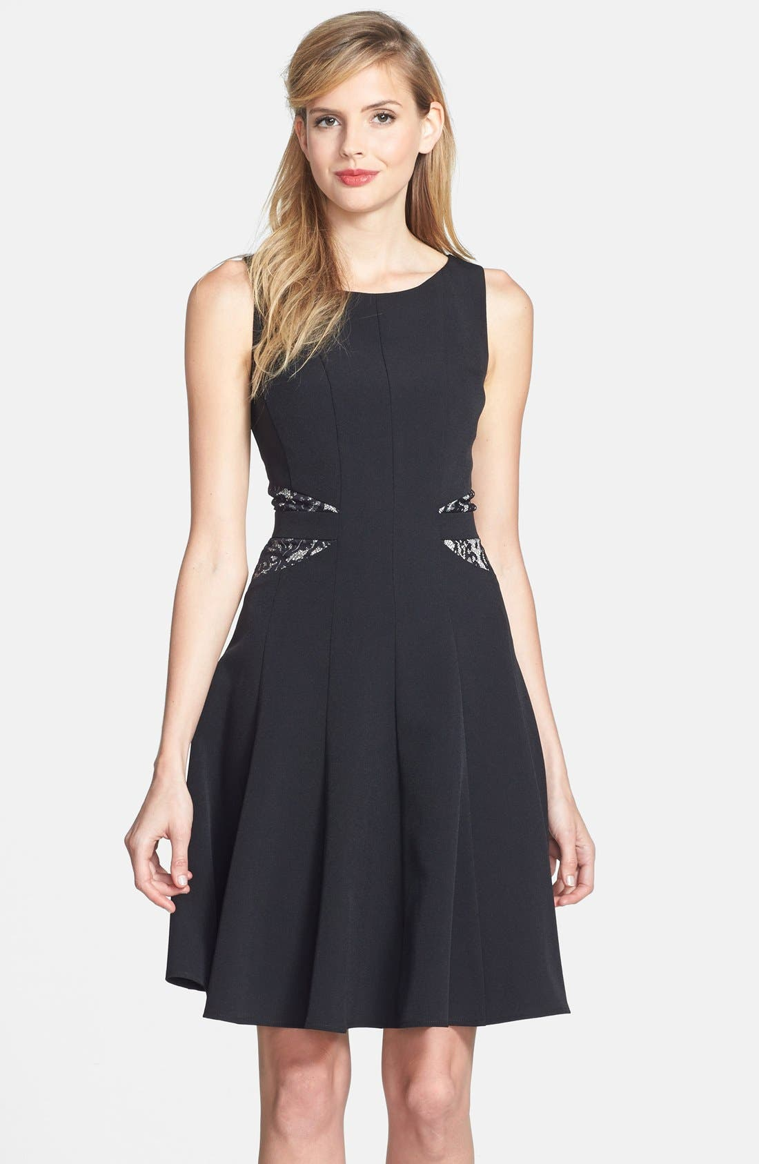 Alternate Image 1 Selected - Taylor Dresses Lace Back Crepe Fit & Flare Dress