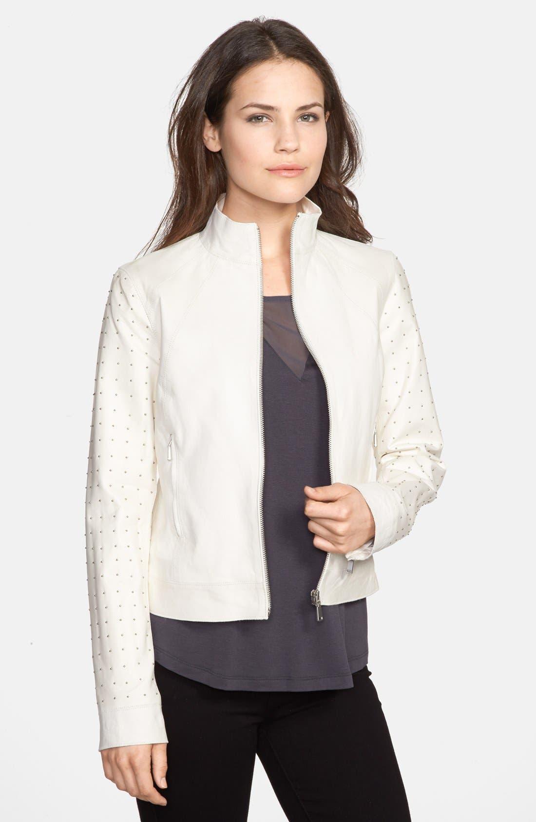 Main Image - Elie Tahari 'Suella' Studded Sleeve Leather Jacket