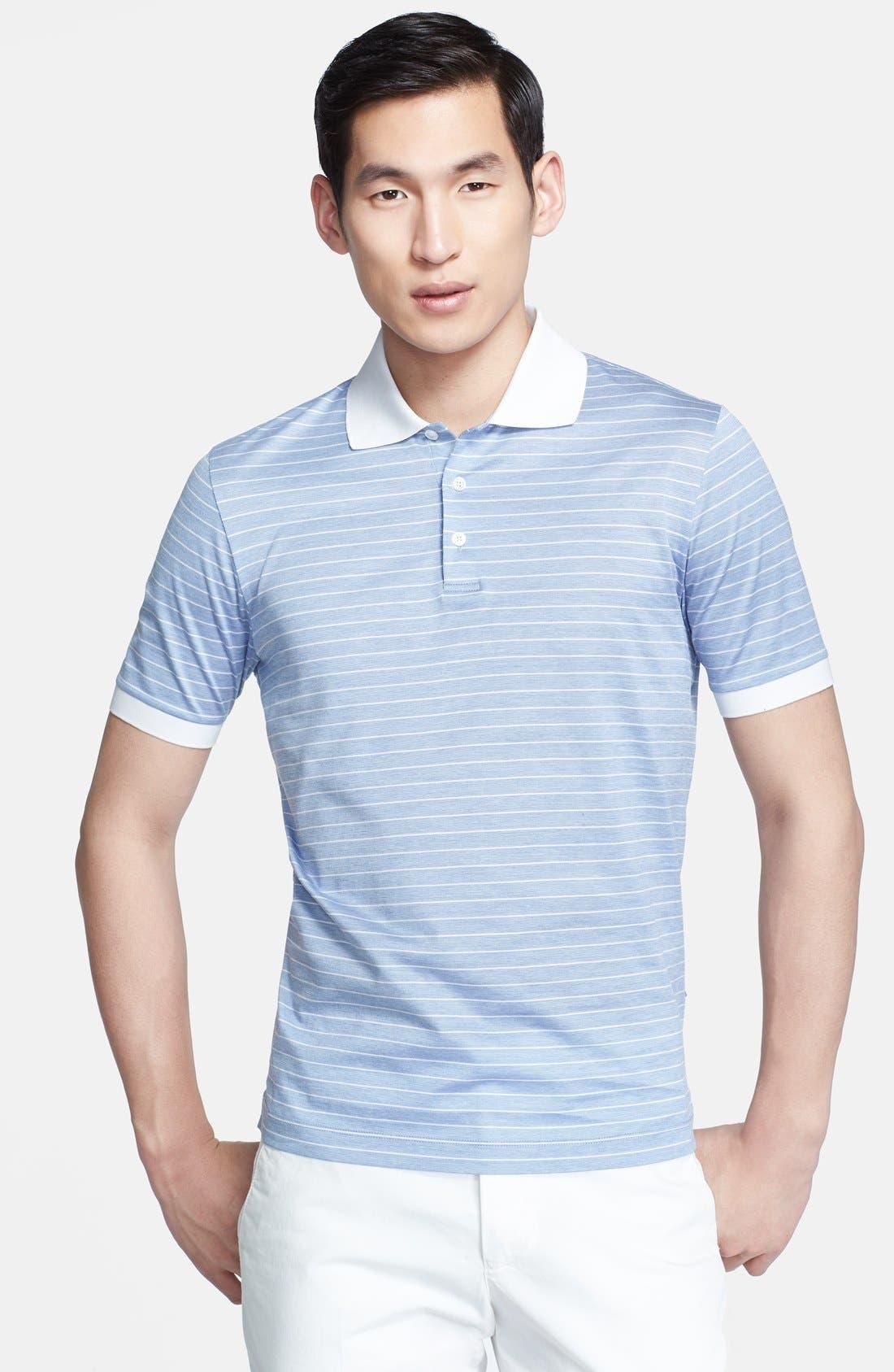 Main Image - Canali Trim Fit Stripe Italian Polo Shirt
