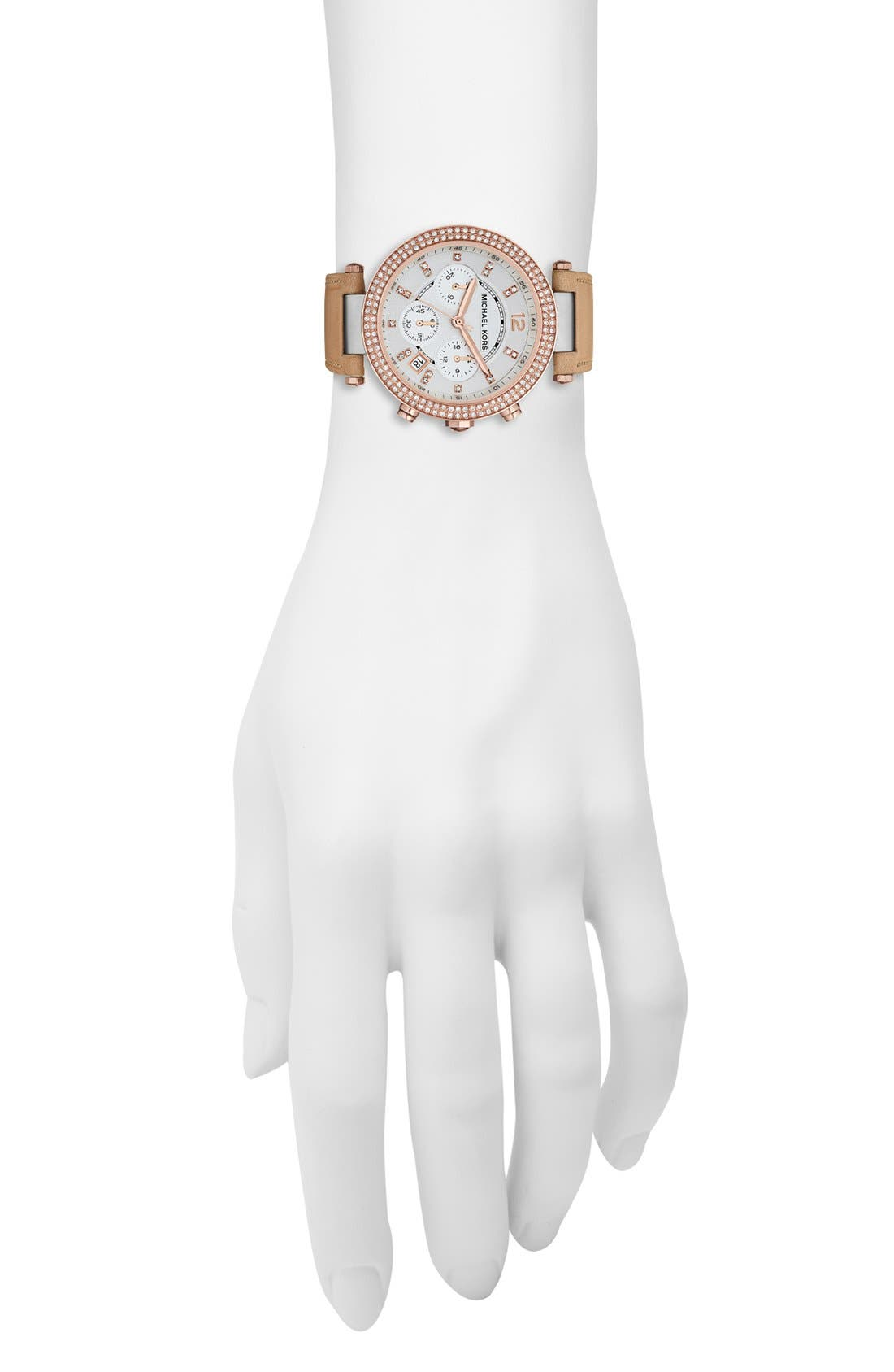 Alternate Image 4  - Michael Kors 'Parker' Chronograph Leather Watch, 39mm