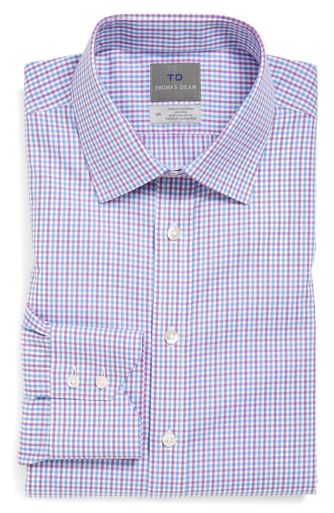 Alternate Image 1 Selected - Thomas Dean Regular Fit Non-Iron Check Dress Shirt