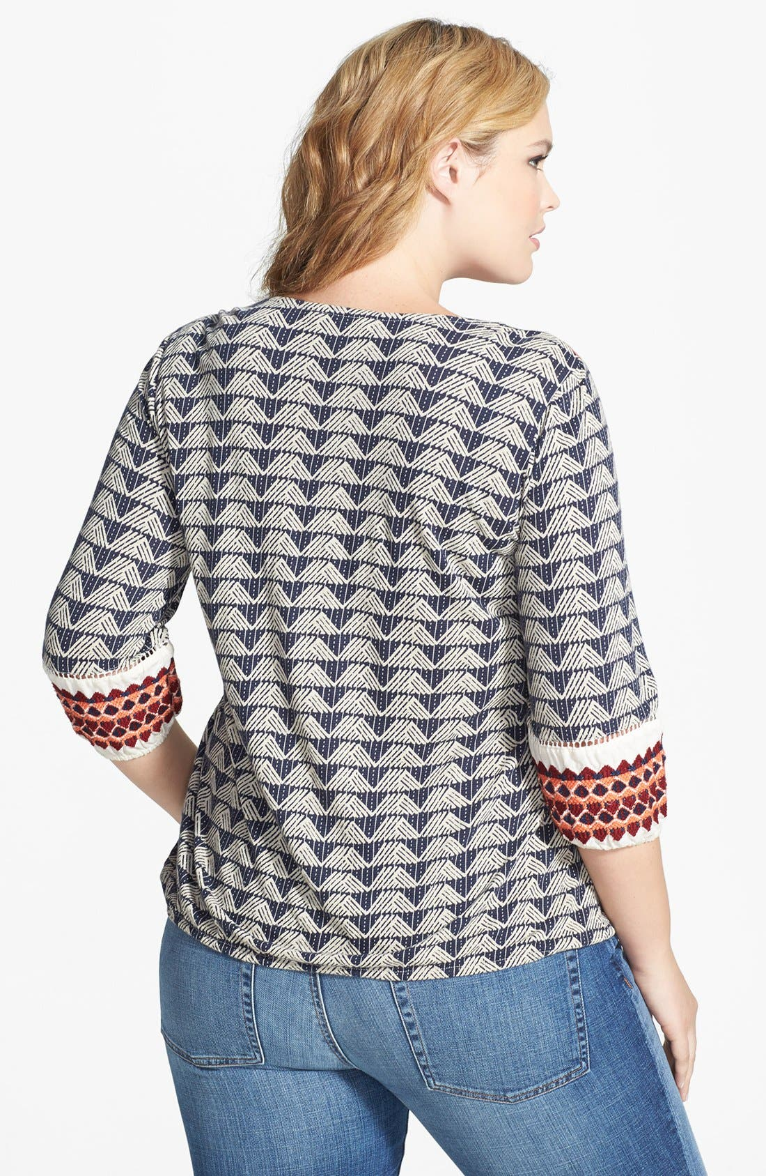 Alternate Image 2  - Lucky Brand Embroidered Split Neck Top (Plus Size)