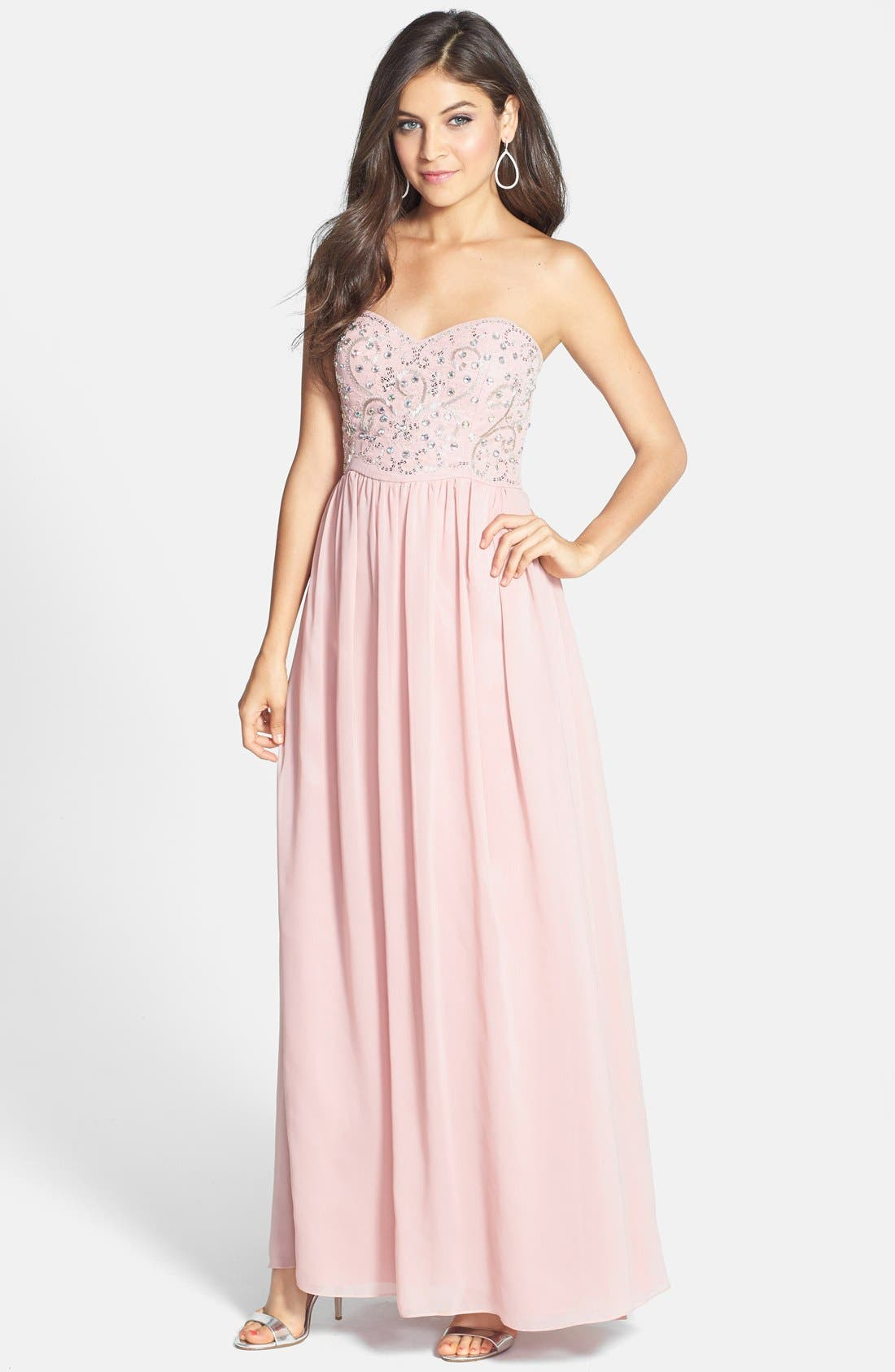 Main Image - Hailey by Adrianna Papell Embellished Bodice Chiffon Gown