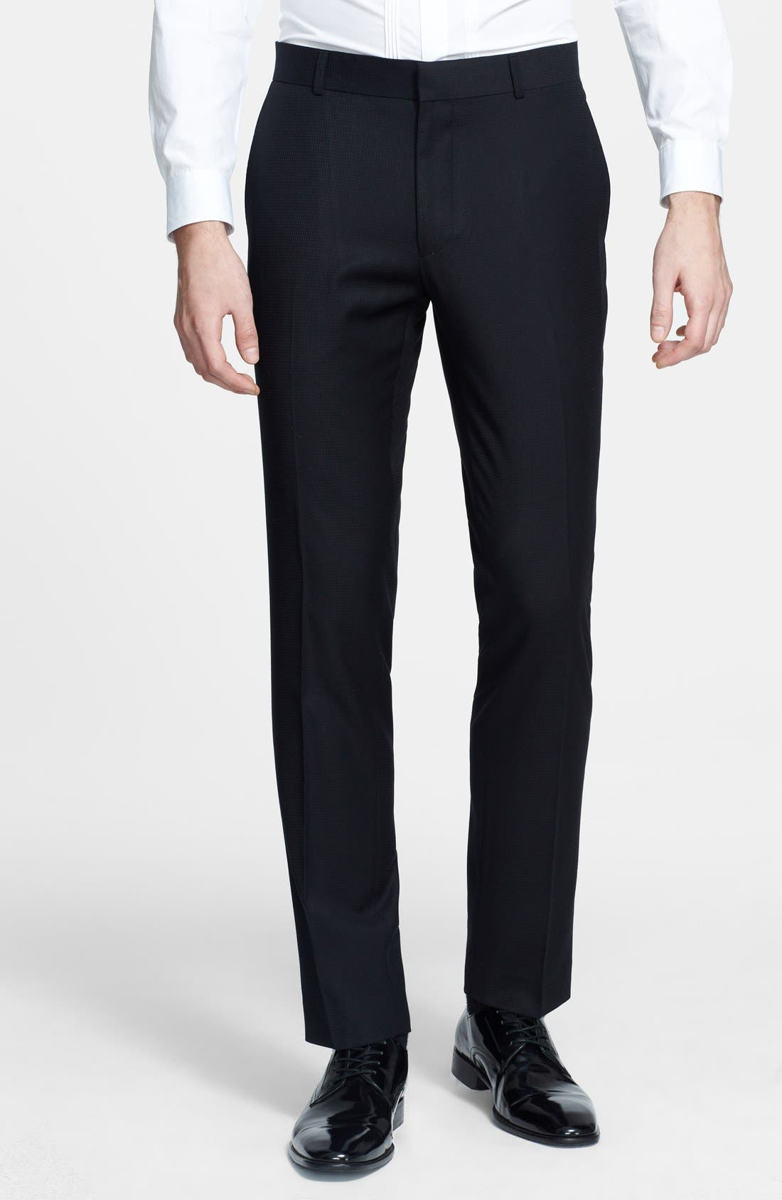 Alternate Image 1 Selected - Topman Skinny Fit Jacquard Tuxedo Trousers