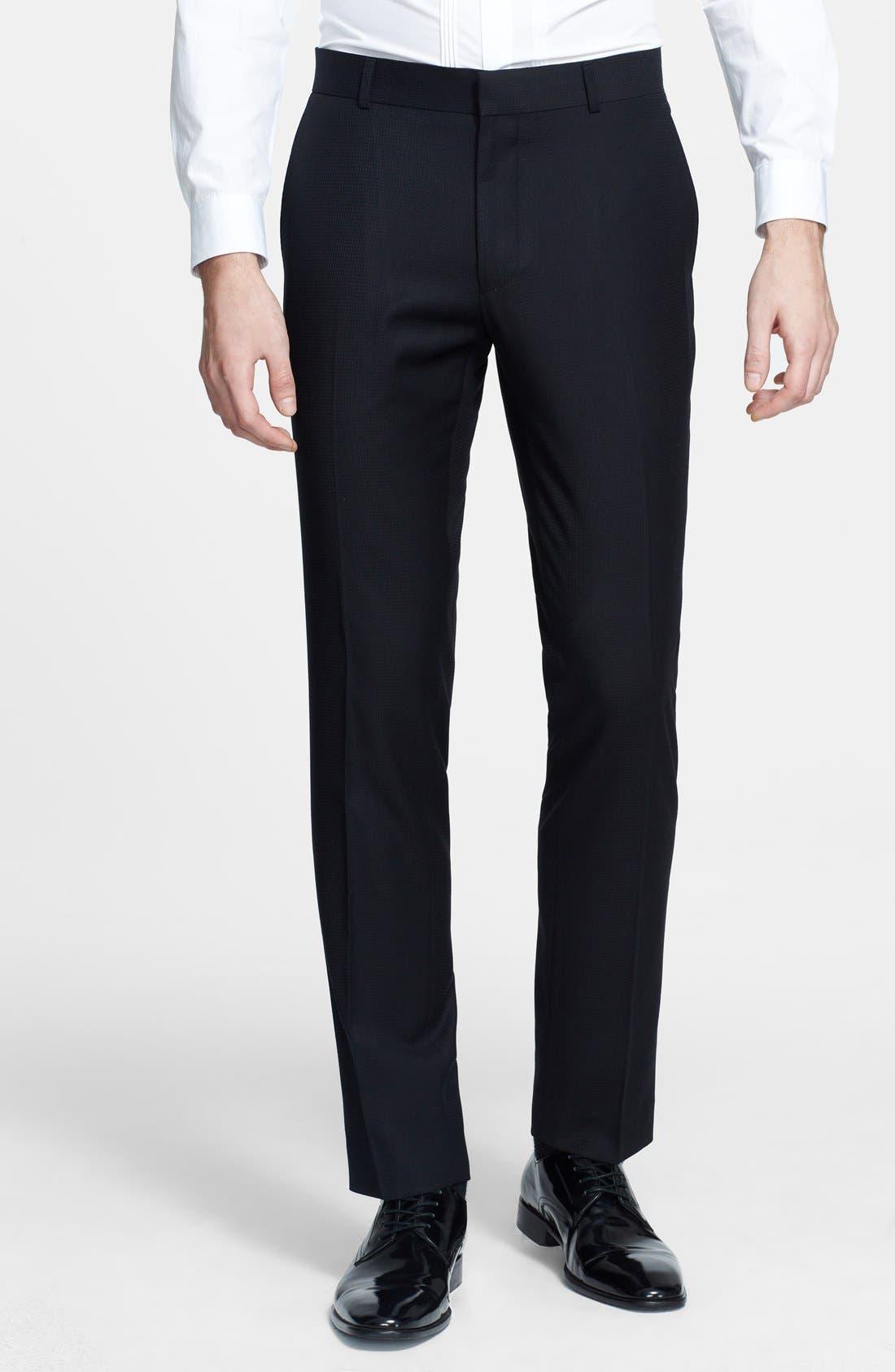 Main Image - Topman Skinny Fit Jacquard Tuxedo Trousers