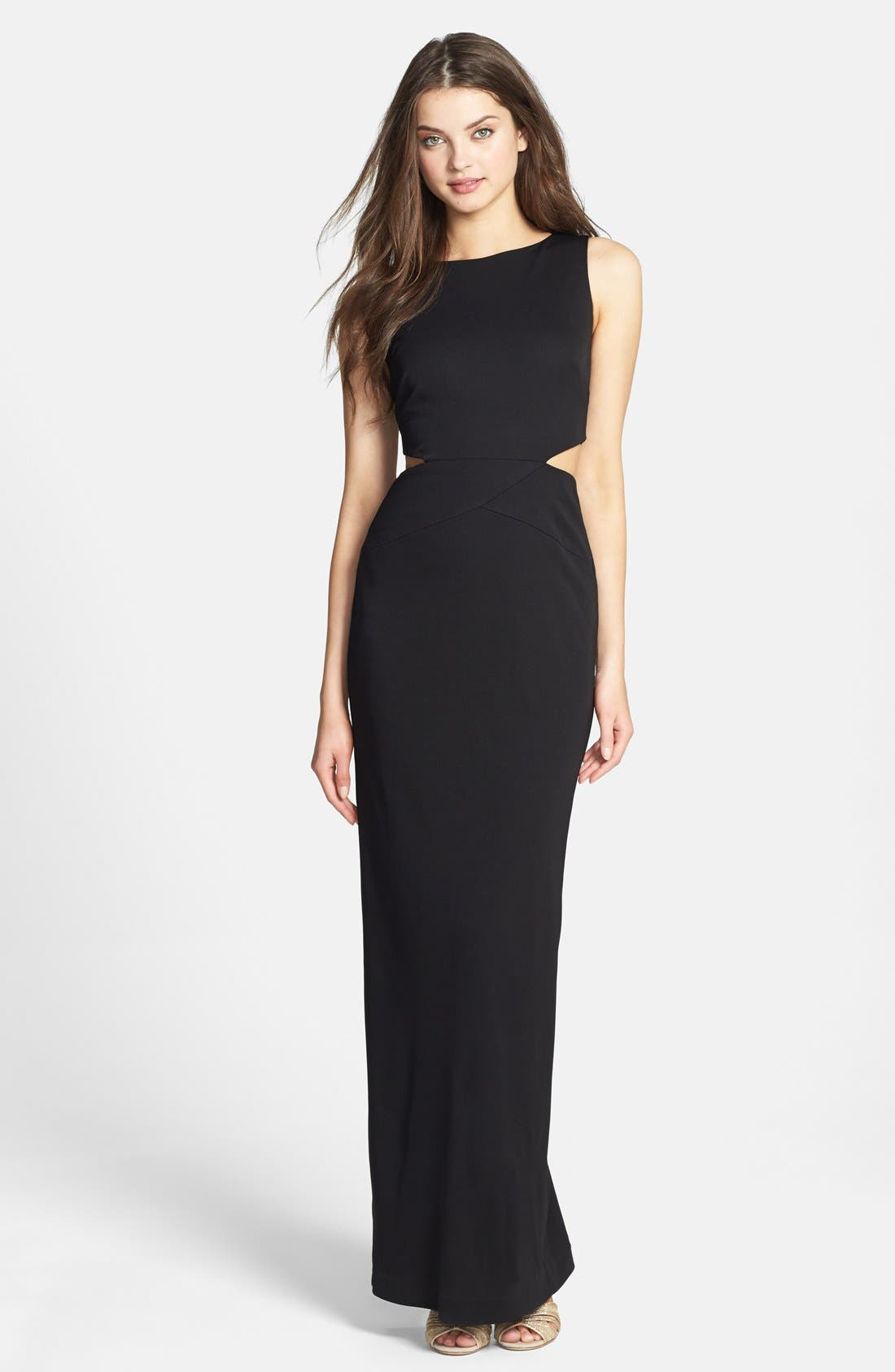 Alternate Image 1 Selected - Nicole Miller Cutout Stretch Jersey Gown