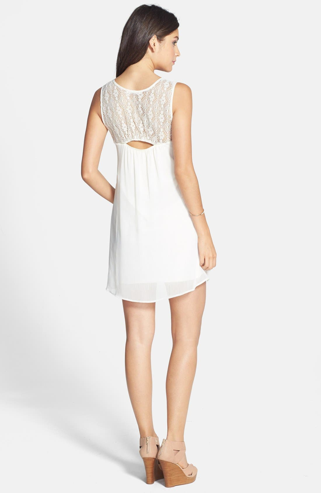 Alternate Image 2  - Socialite Lace Panel A-Line Dress (Juniors)