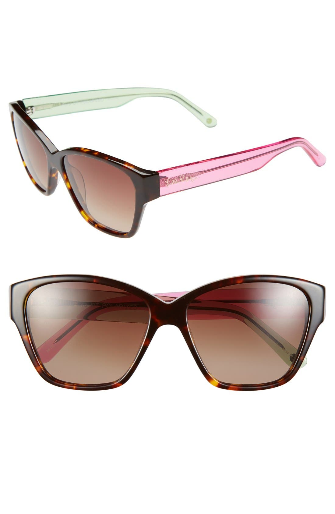 Lilly Pulitzer® 'Flora' 57mm Polarized Sunglasses