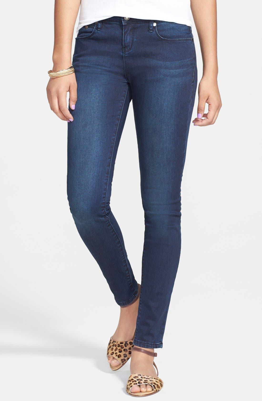 Alternate Image 1 Selected - THIS CITY Skinny Jeans (Dark) (Juniors)