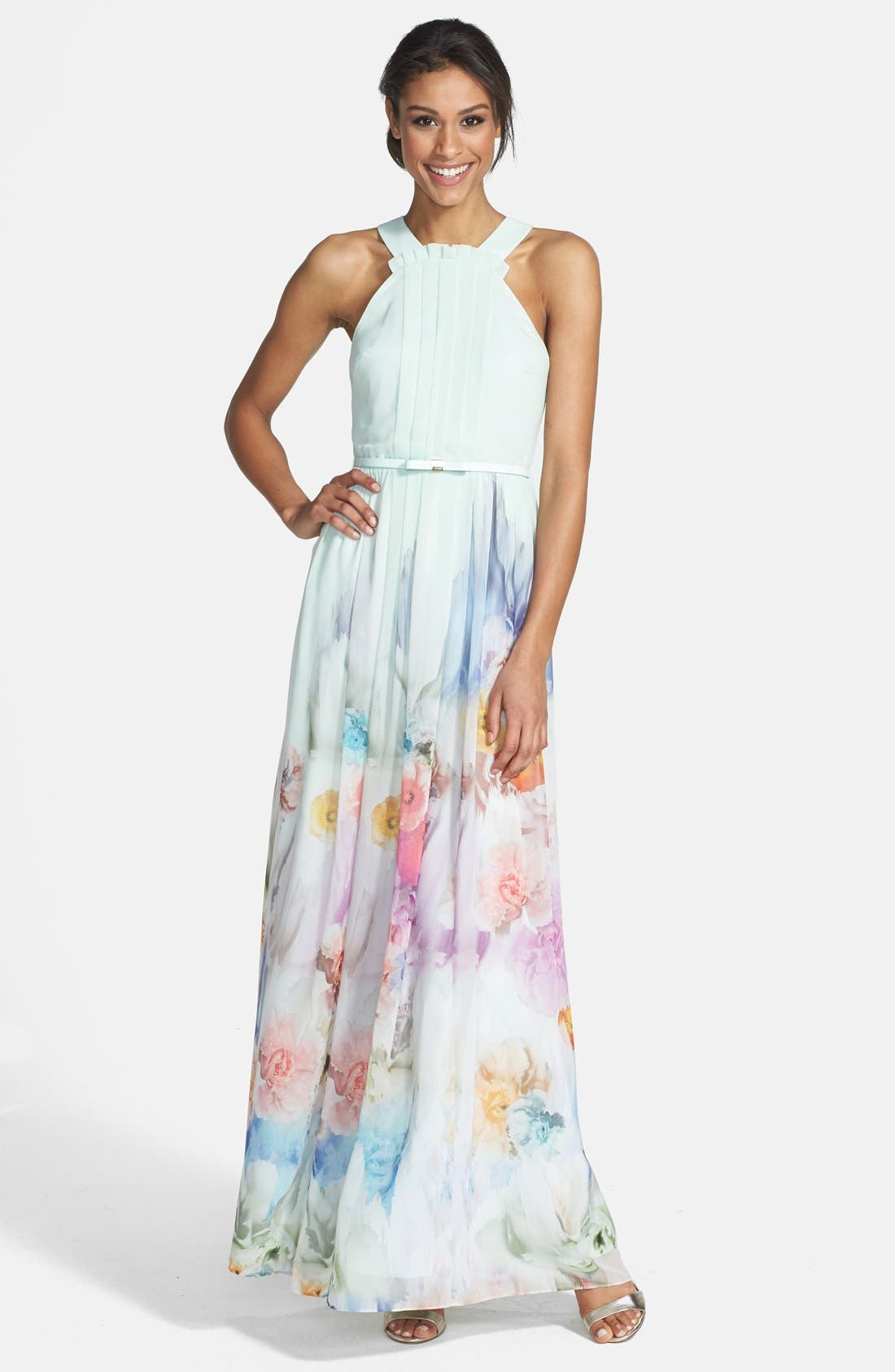 Ted Baker London Beula Floral Print Chiffon Maxi Dress