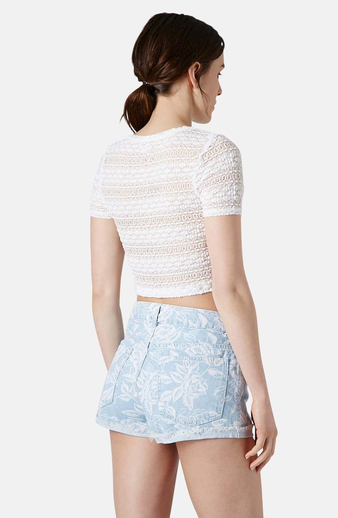 Alternate Image 2  - Topshop Textured Lace Crop Tee (Regular & Petite)