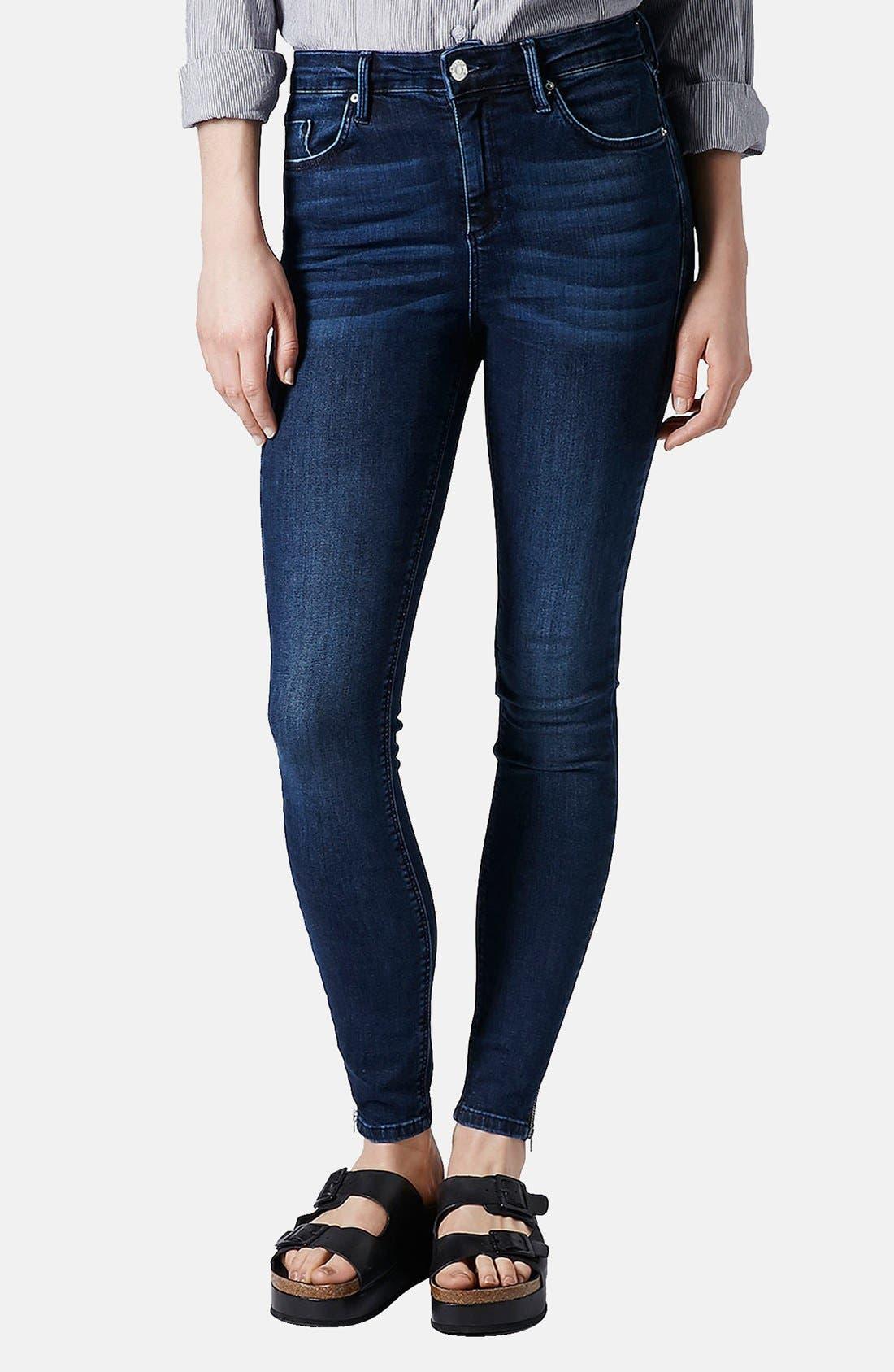 Main Image - Topshop Moto 'Jamie' Zip Cuff High Waist Skinny Jeans (Dark)