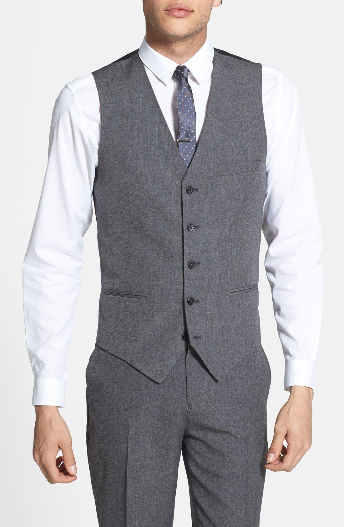 Alternate Image 1 Selected - Topman Skinny Fit Grey Vest