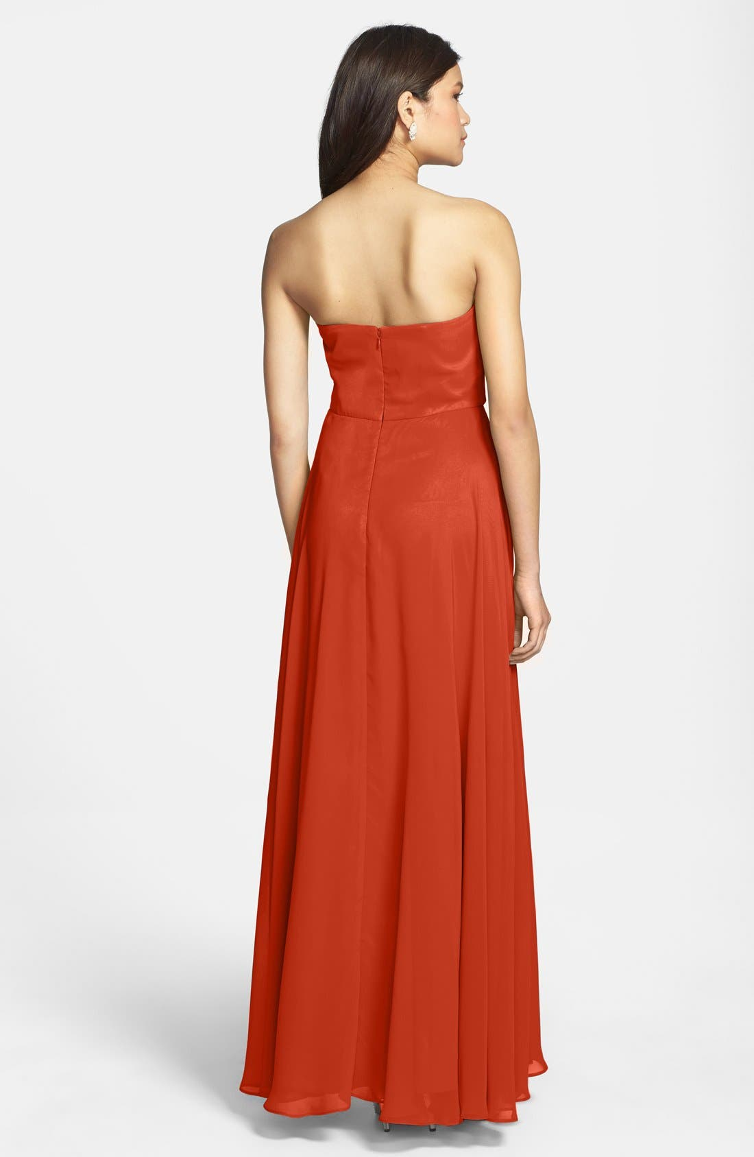 Alternate Image 2  - Hailey by Adrianna Papell Strapless Chiffon Gown