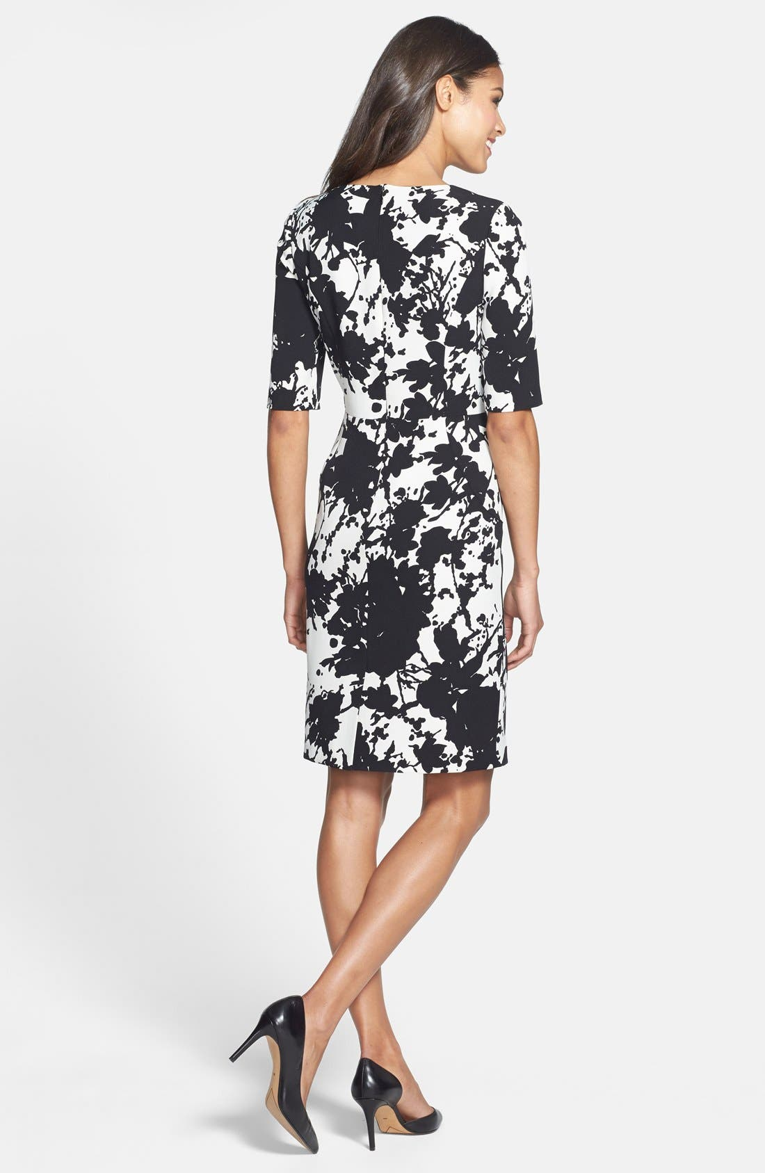 Alternate Image 2  - Adrianna Papell Floral Print Crepe Sheath Dress (Online Only)