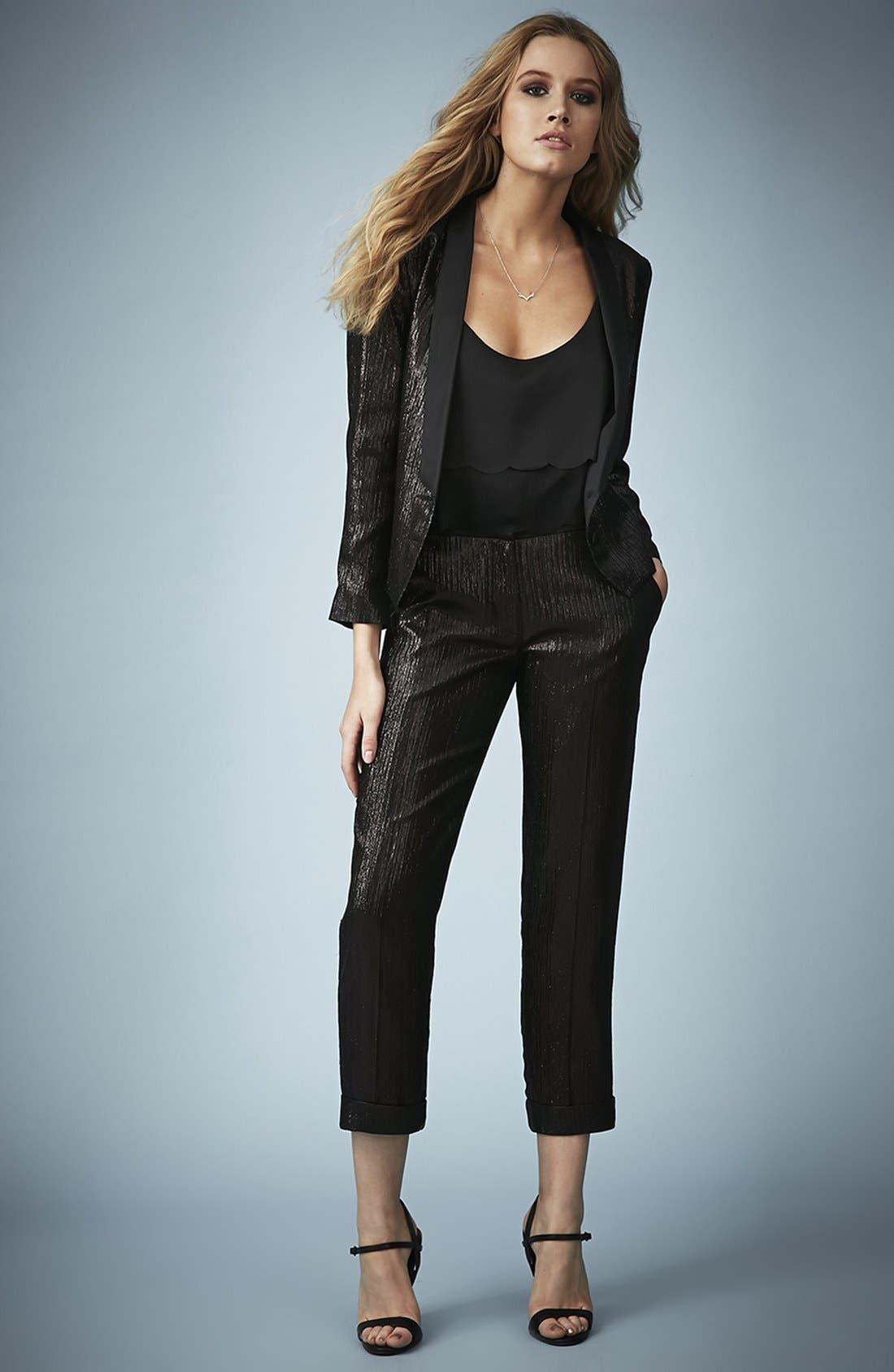 Alternate Image 4  - Kate Moss for Topshop Lamé Tuxedo Jacket