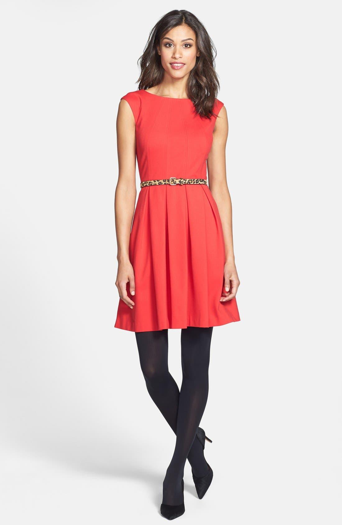 Alternate Image 5  - Eliza J Cutout Back Belted Ponte Knit Fit & Flare Dress