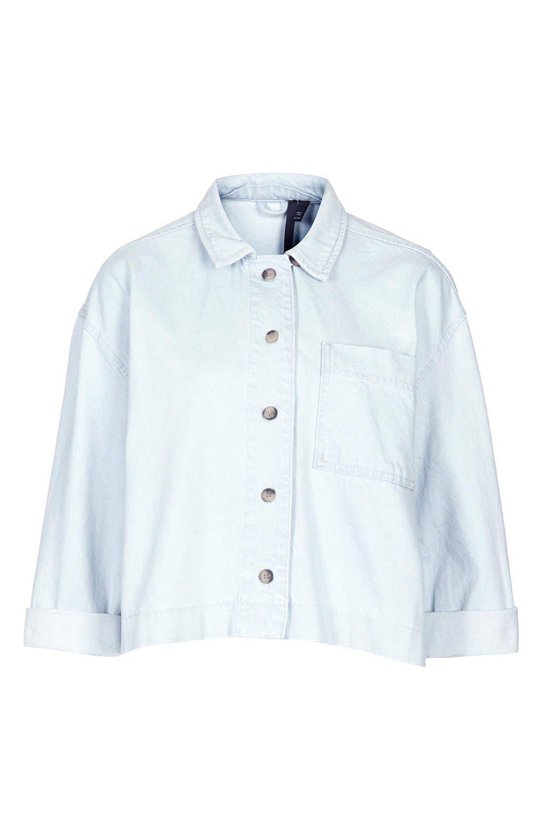 Alternate Image 3  - Topshop Boutique Crop Denim Shirt