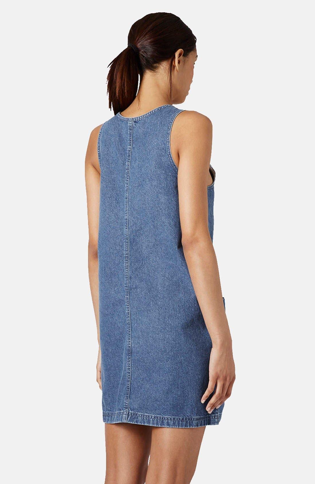 Alternate Image 2  - Topshop Zip Front Denim Dress