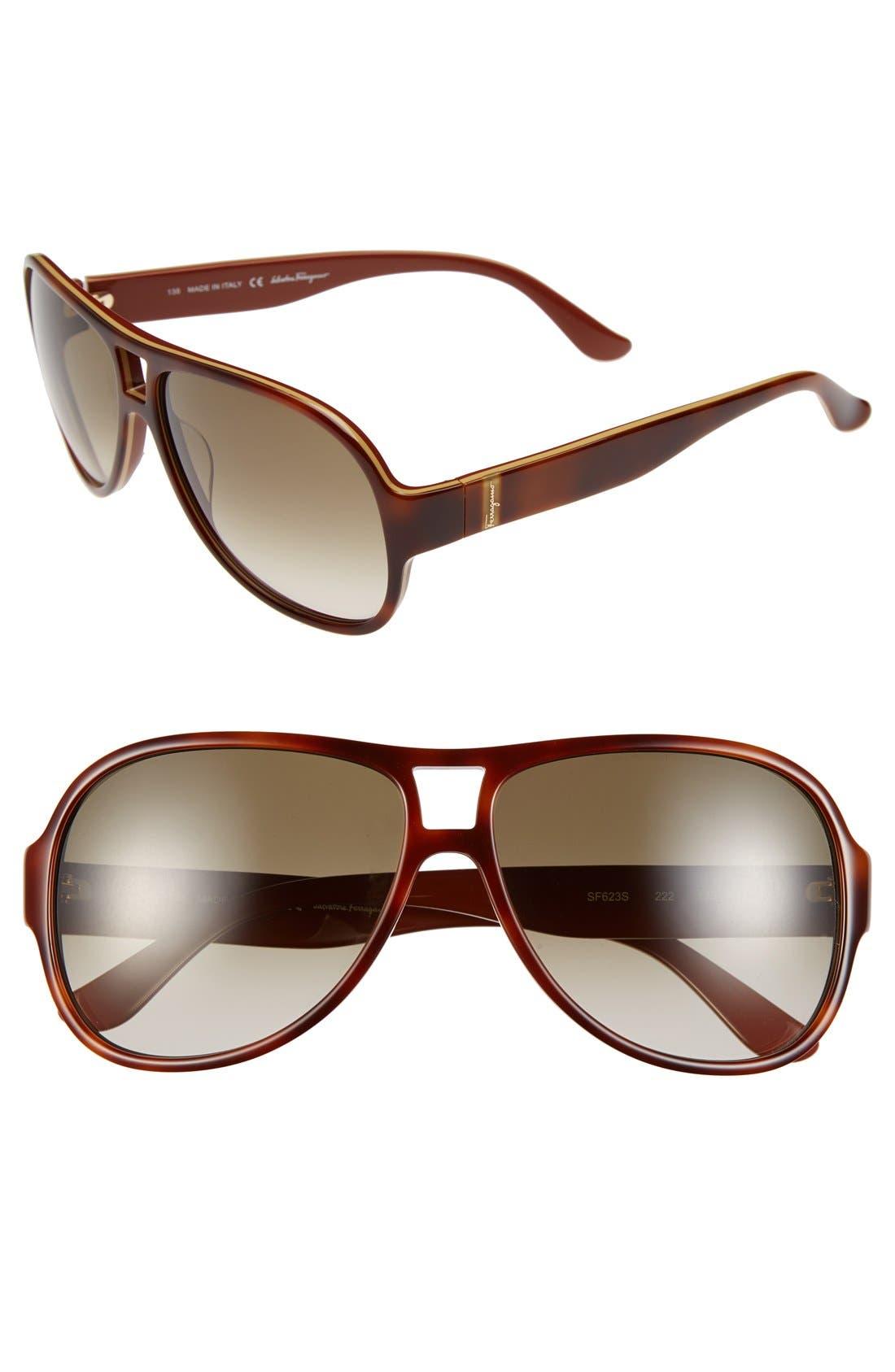 Main Image - Salvatore Ferragamo 59mm Aviator Sunglasses