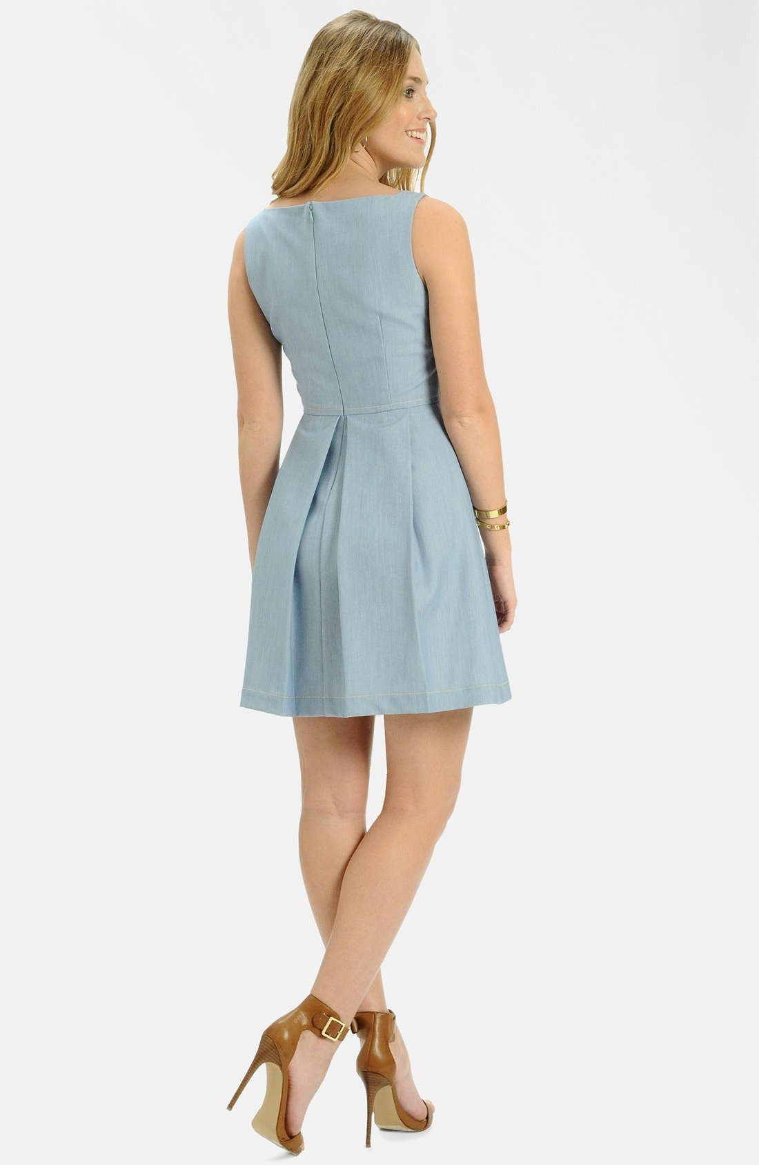 Alternate Image 2  - LABEL by five twelve Chambray Fit & Flare Dress
