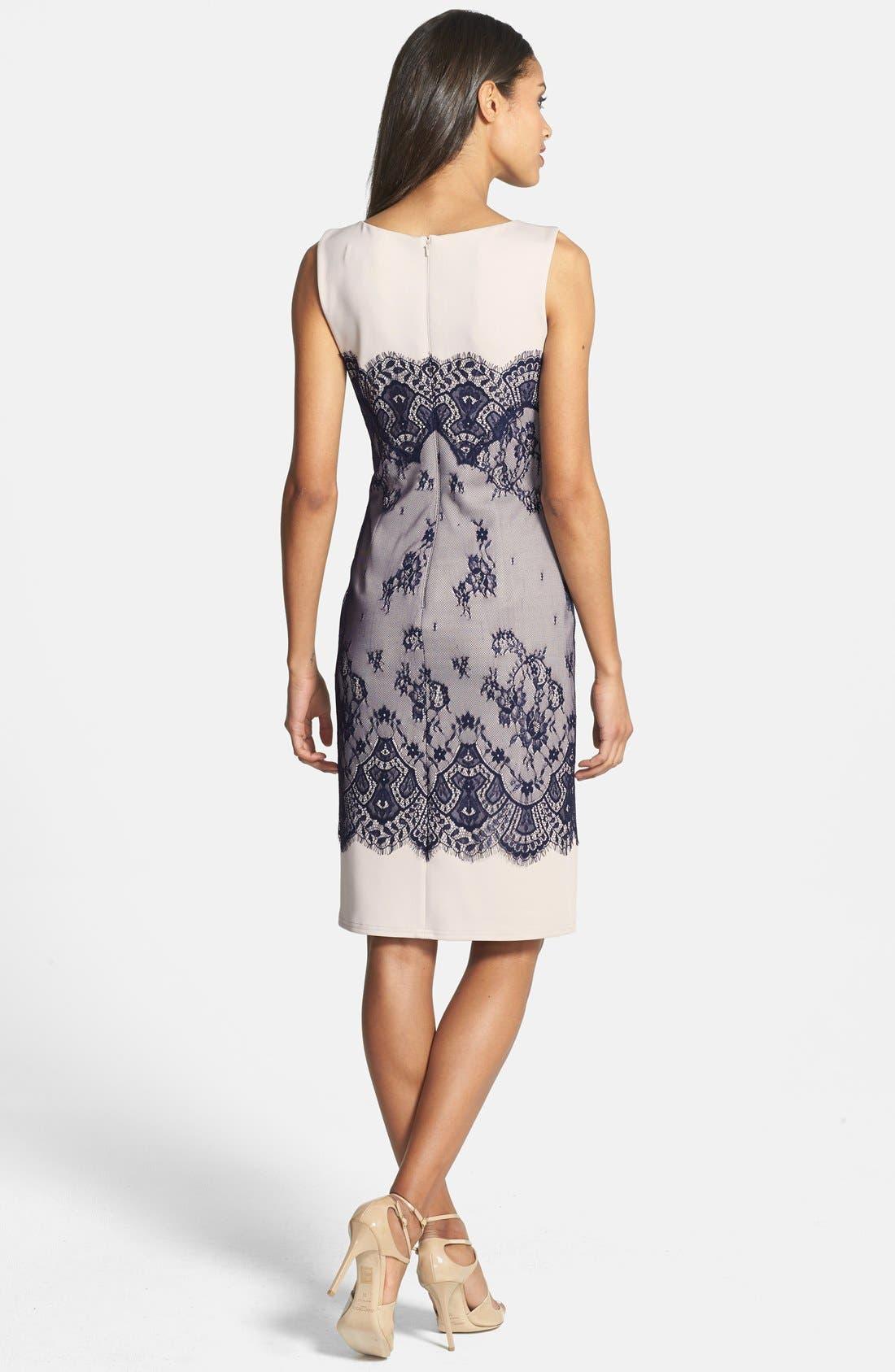 Alternate Image 2  - Tadashi Shoji Lace Overlay Sheath Dress