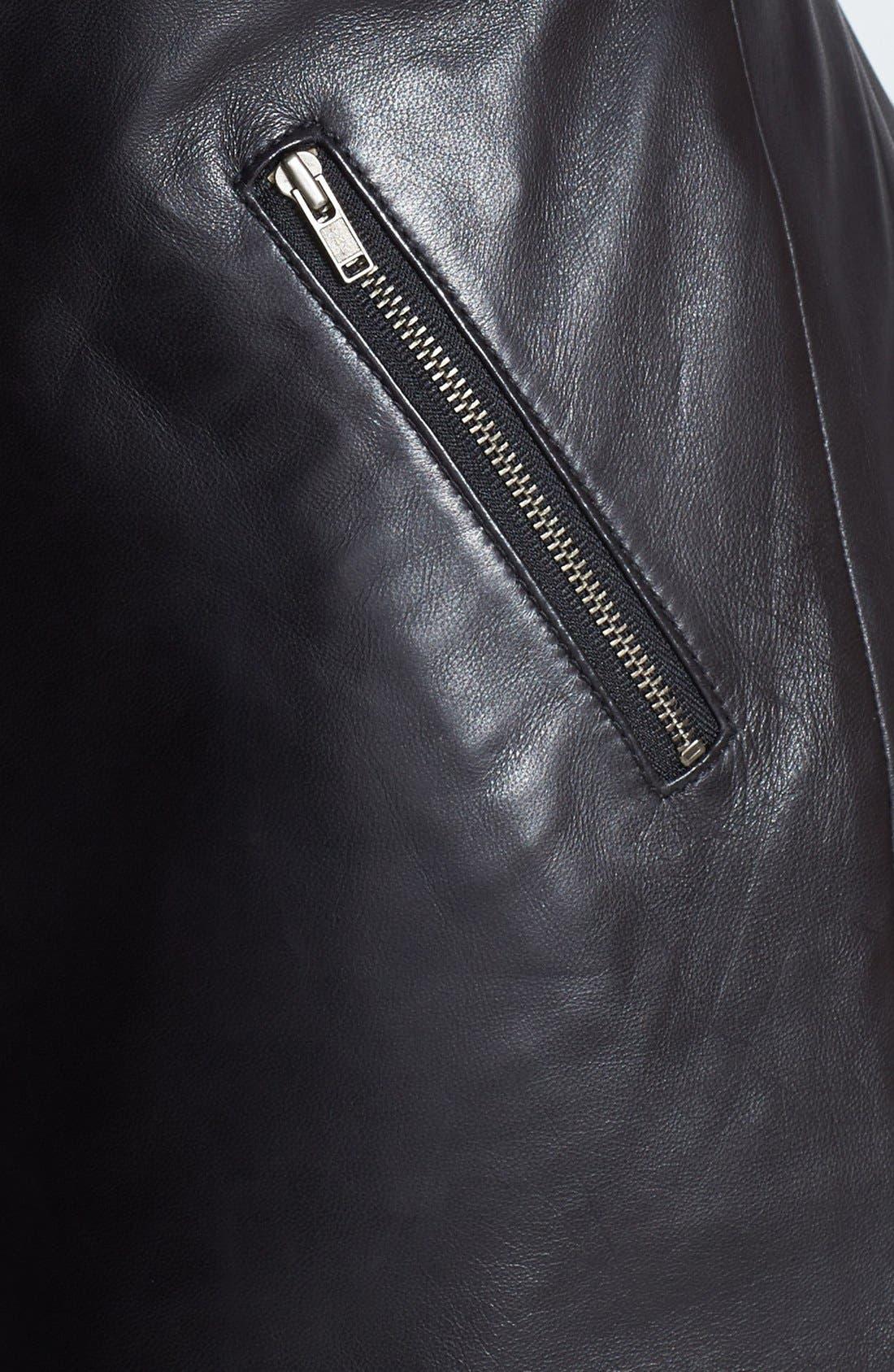 Alternate Image 3  - Halogen® Leather & Ponte Knit Shift Dress (Regular & Petite)