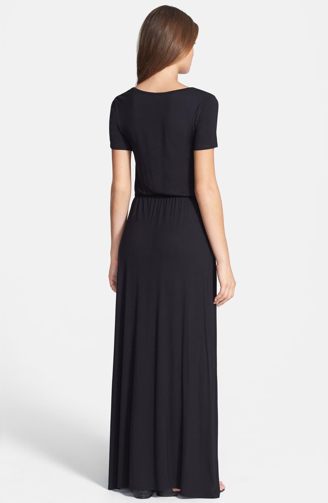 Alternate Image 2  - Loveappella Cinch Waist Stretch Knit Maxi Dress