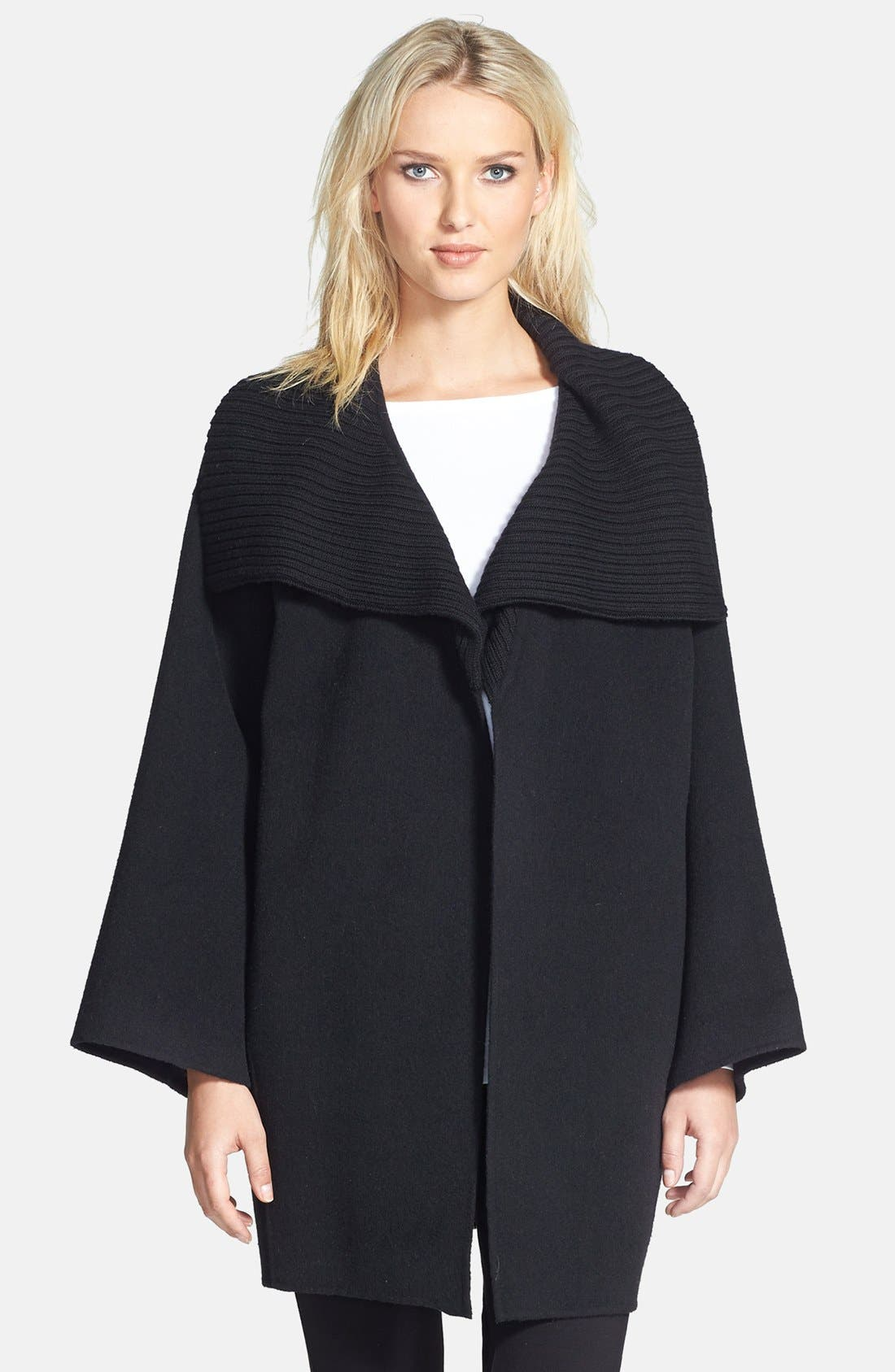 Alternate Image 1 Selected - Eileen Fisher Knit Funnel Collar Wool Blend Coat (Petite) (Online Only)