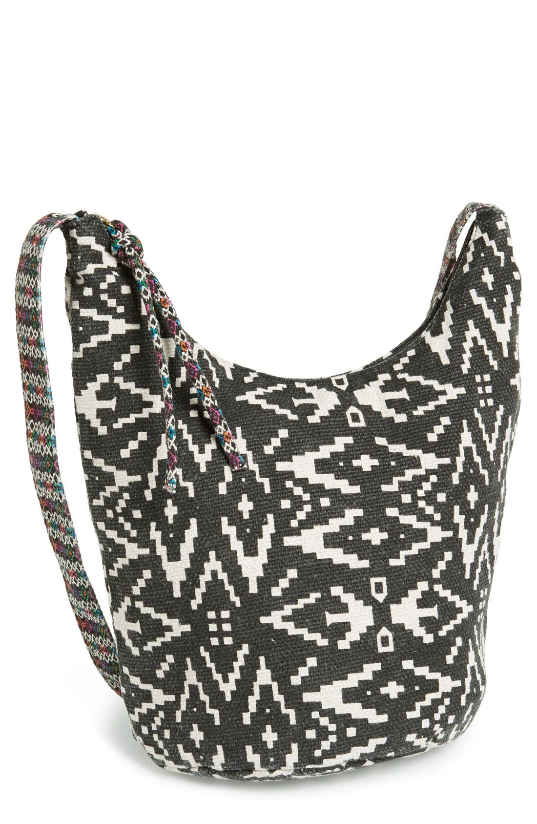 Main Image - Lulu Geo Print Canvas Crossbody Bag (Juniors) (Online Only)