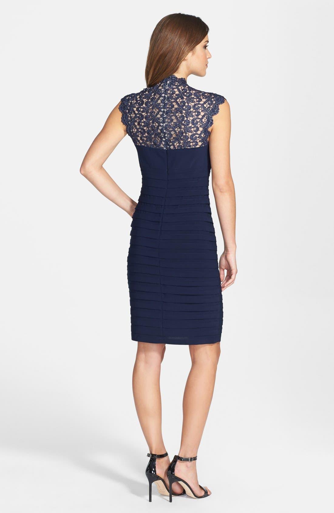 Alternate Image 2  - Xscape Lace Cap Sleeve Jersey Body-Con Dress