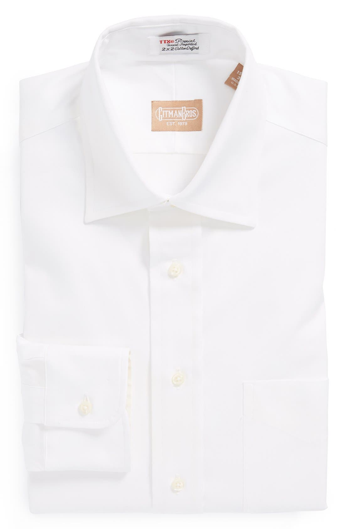 GITMAN Regular Fit Pinpoint Cotton Oxford Point Collar