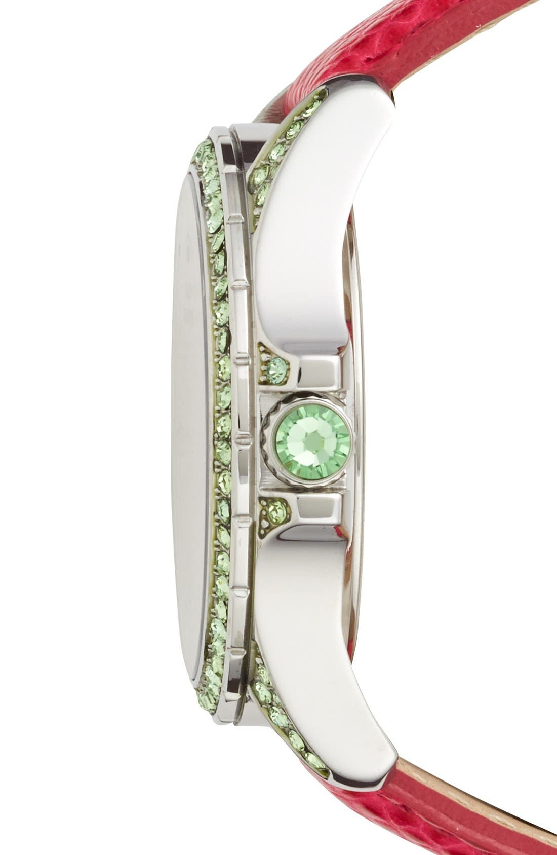 Alternate Image 2  - Juicy Couture 'Stella' Pavé Crystal Leather Strap Watch, 40mm