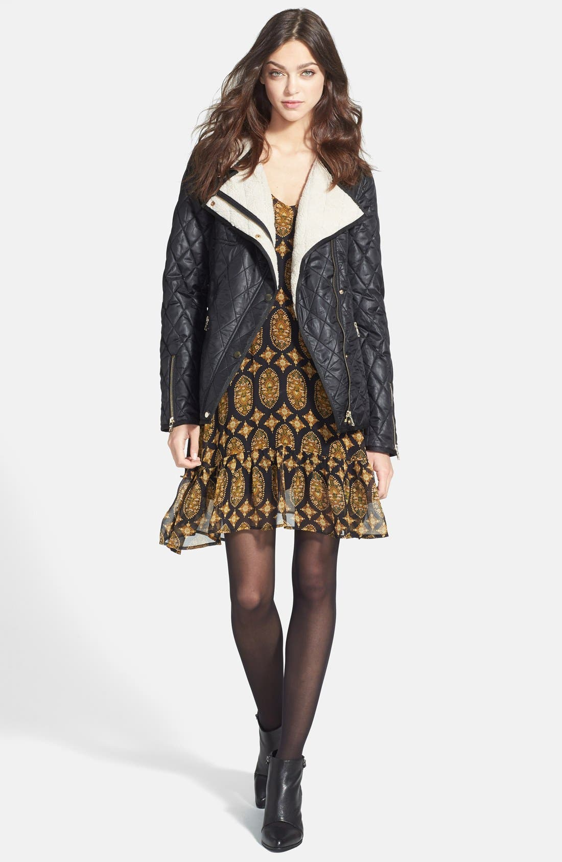 Alternate Image 4  - Ella Moss Marigold Print Silk Dress (Nordstrom Exclusive)