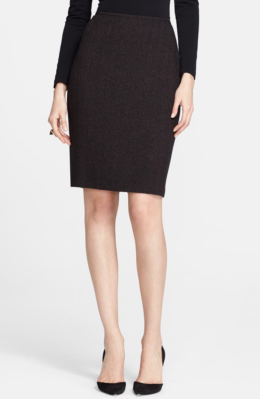 Main Image - St. John Collection Bouclé Herringbone Knit Skirt